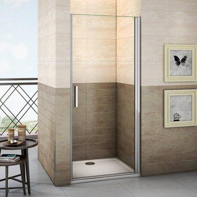 90x195cm duschkabine duschabtrennung pendeltr schwingtr nischentr nanoglas duschwand dusche mit duschtasse 90x76x4cm - Dusche Pendeltur Schwingtur