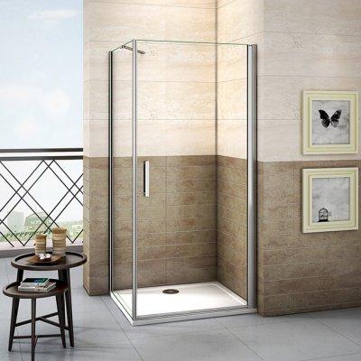 76x80x195cm duschkabine duschabtrennung pendeltr schwingtr nischentr nanoglas duschwand dusche mit duschtasse 80x76x4 - Dusche Nischentur 60