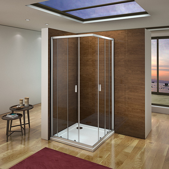 100x100x185cm duschkabine schiebet r eckeinstieg duschabtrennung cr11m 163 99 aica. Black Bedroom Furniture Sets. Home Design Ideas