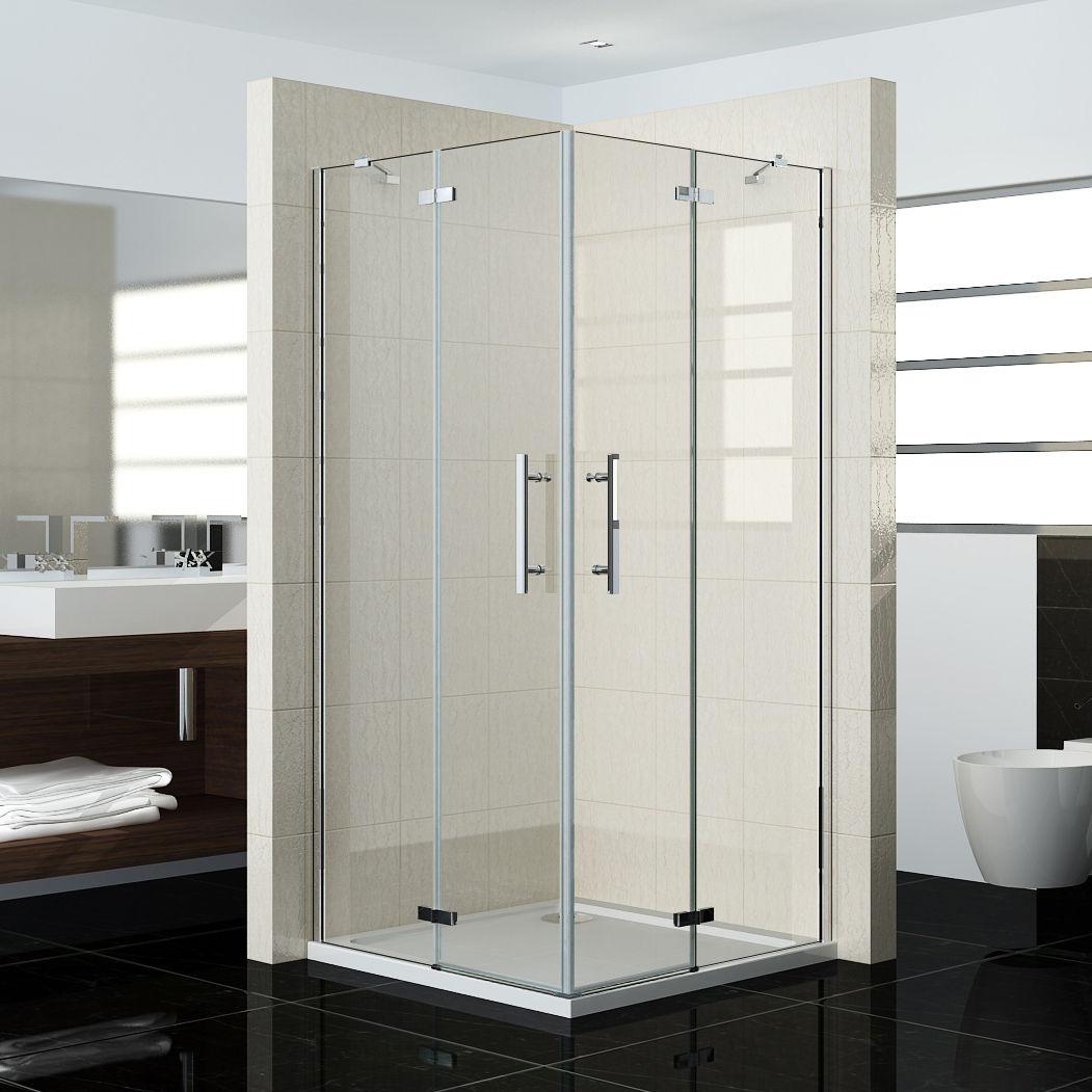 duschkabine duschabtrennung nano glas duschwand scharniert r eckeinstieg dusche ebay. Black Bedroom Furniture Sets. Home Design Ideas