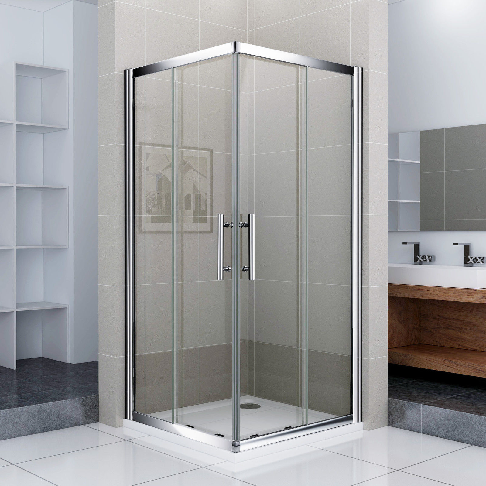 Dusche Ebenerdig Glas : Corner Entry Shower Doors