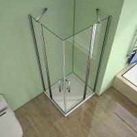 90x90x185cm Eckeinstieg Duschkabine Echtglas Nano Schwingtür Dusche Duschwand