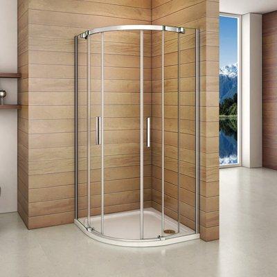 90x90x195cm duschkabine viertelkreis runddusche schiebet r duschabtrennung dusche duschtasse. Black Bedroom Furniture Sets. Home Design Ideas