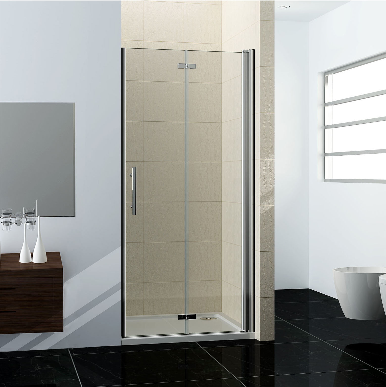 pivot door porte de douche pliante verre de s curit 6mm longueur r glable ebay. Black Bedroom Furniture Sets. Home Design Ideas