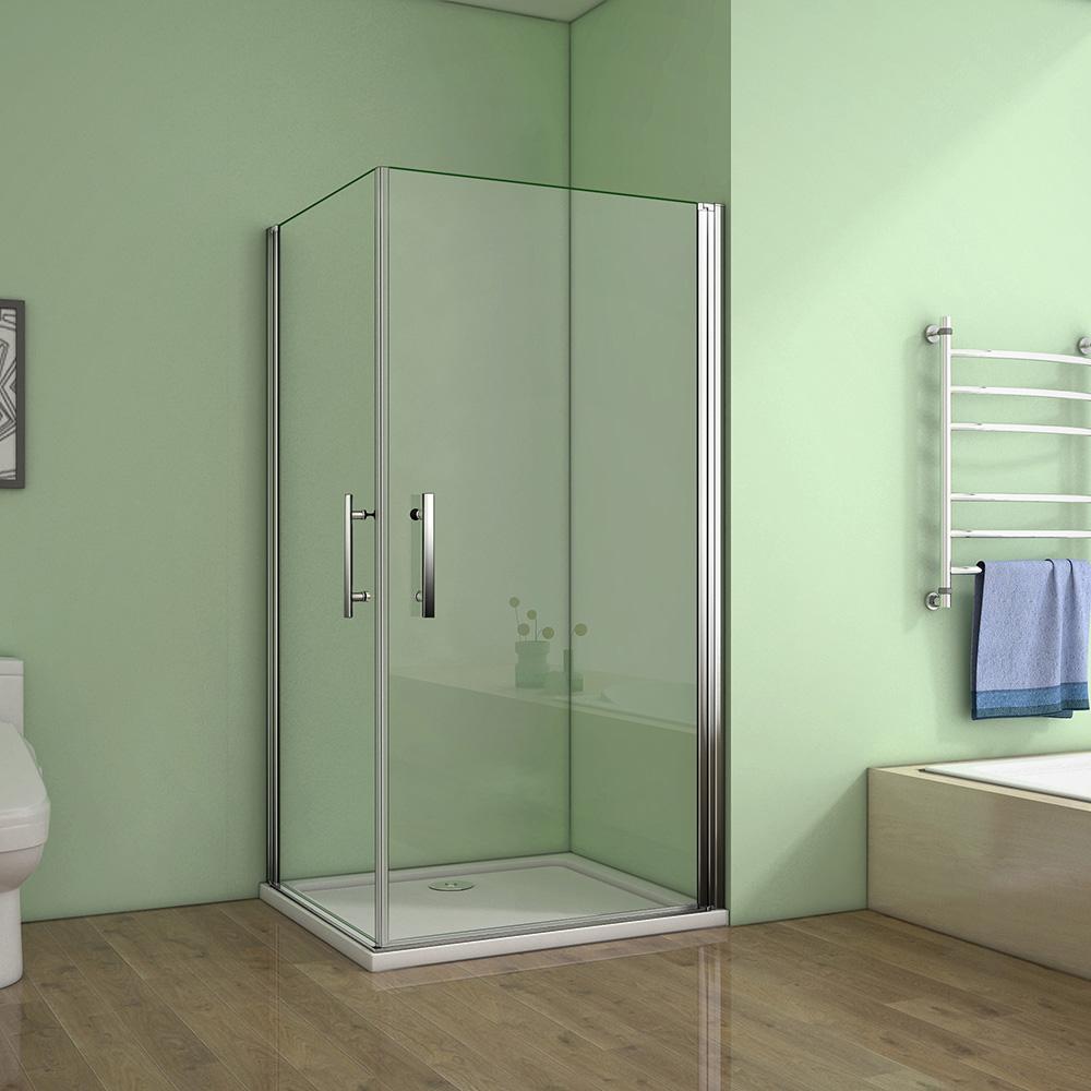 80x80cm Duschkabine Eckeinstieg Schiebetür Duschabtrennung Duschwand ESG Glas